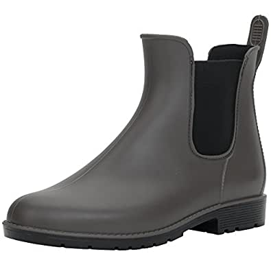 Hellozebra 最新モデル サイドゴアブーツ レディースレインシューズ レインブーツ ラバー ショートブーツ 長靴 婦人靴 高級PVCおしゃれ 軽量、快適、防水、耐滑、晴れの日も履きたい M(23.5cm) グレー