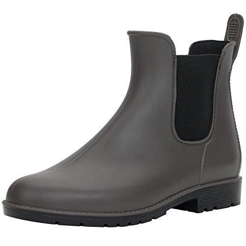 Hellozebra 最新モデル サイドゴアブーツ レディースレインシューズ レインブーツ ラバー ショートブーツ 長靴 婦人靴 高級PVCおしゃれ 軽量、快適、防水、耐滑、晴れの日も履きたい S(23.0cm) グレー