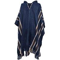 Gamboa Alpaca Poncho Blue Hooded Poncho Winter Clothes Extra Warm Alpaca Poncho for Men Soft Alpaca Wool Poncho