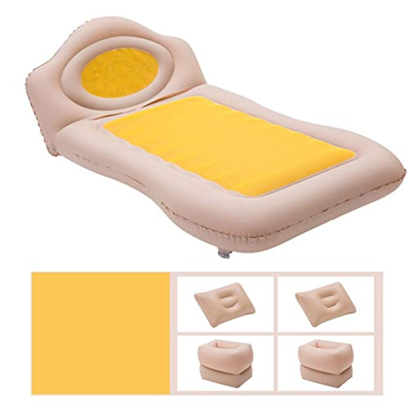 スクワイア算術満たすTXOZ 車の膨脹可能なベッド車の睡眠のマットレス車の膨脹可能なベッド車の後部座席の延長マットレス カーエアーベッド (Color : Yellow)