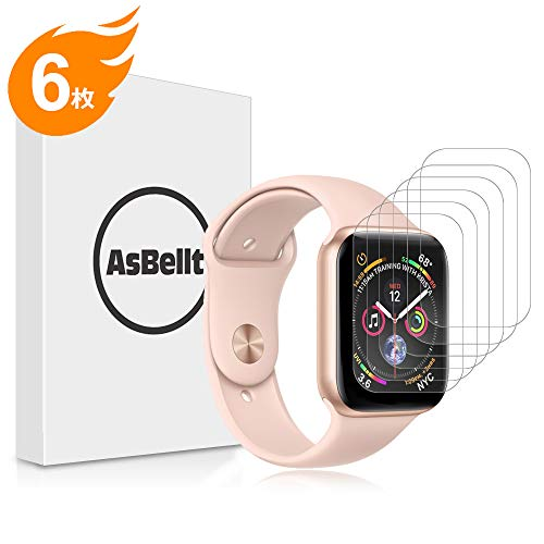 AsBellt Apple Watch 44mm フィルム 貼り直し可 貼付簡単 スムースタッチ 気泡なし 99%高透過率 TPU素材 アップルウォッチ フィルム (Series 4 44mm)