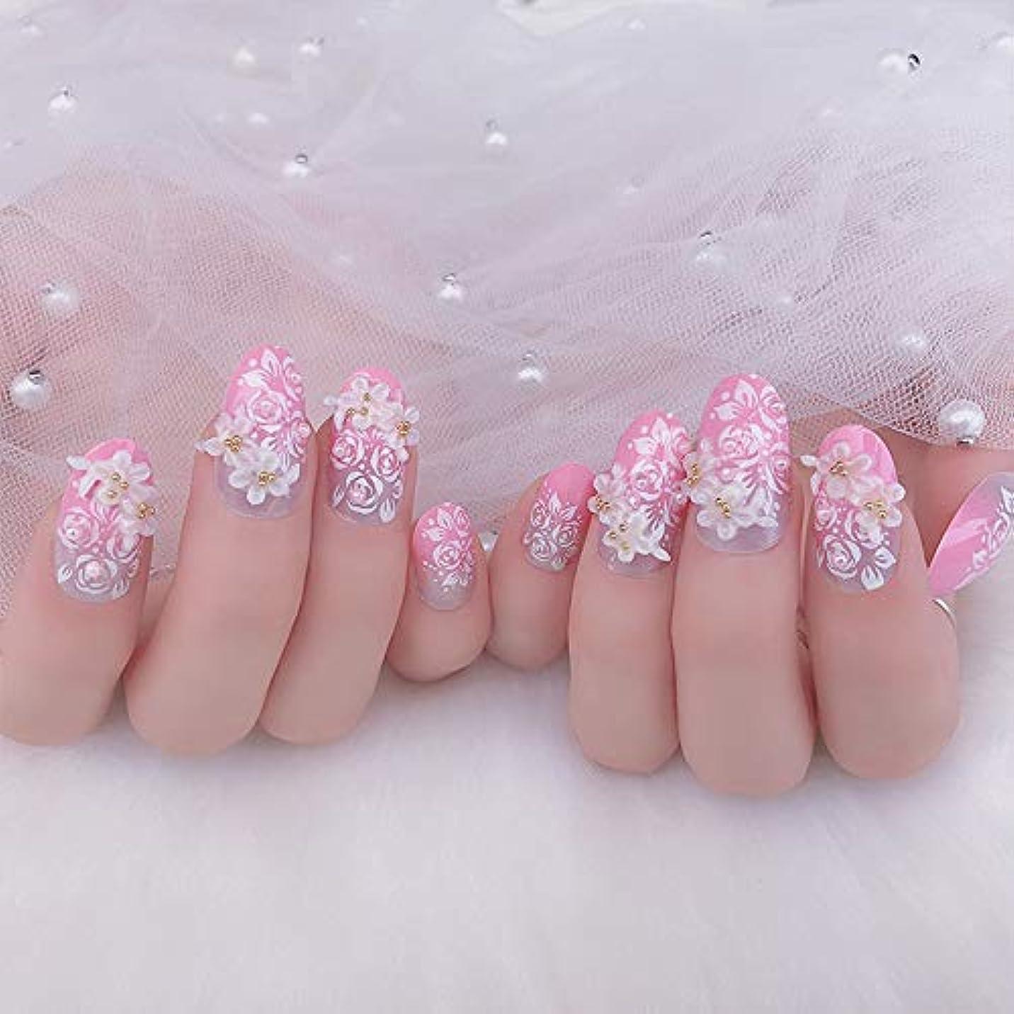 監督する印をつける銀XUTXZKA ピンクカラー人工ネイル花嫁の結婚式輝くラインストーン偽ネイル花フルカバーネイルのヒント24ピース/セット