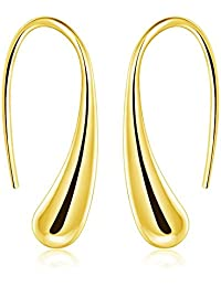 ARMRA Fashion Classic Silver Thread Drop Earrings Teardrop Back Earrings (1 Pair)