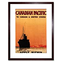 Travel Silhouette Ship Liner Canadian Pacific Canada Framed Wall Art Print