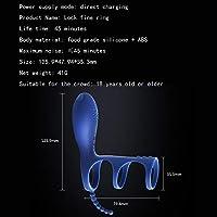 レディース製品 ペニスリングおよび球のループ、10の速度の再充電可能な肛門の性のおもちゃが付いている3で1のリモート・コントロール前立腺のマッサージャーのバイブレーター男性の女性のカップルのための防水G点の振動の刺激物 女性マッサージスティック (Color : Blue)