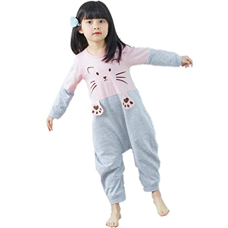 秋と冬の女の子パジャマコットンキャットパジャマ子供用パジャマ長袖子供用パジャマ年齢1-11(ピンク) (Size : Pink-100CM)