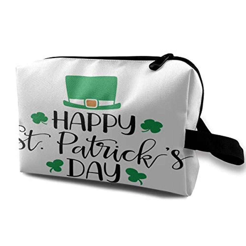 スキッパー悩むどちらかHappy St Patrick's Day Hat 収納ポーチ 化粧ポーチ 大容量 軽量 耐久性 ハンドル付持ち運び便利。入れ 自宅?出張?旅行?アウトドア撮影などに対応。メンズ レディース トラベルグッズ