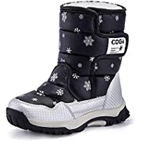 MARITONY Kid's Snow Boots for Girls and Boys, Warm Cozy Waterproof Winter Safety Glitter Puffer Shoes