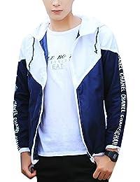 Keaac 男性のファッションカラーブロックコートのフード付きのジッパージャケット