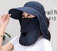 [レディレイジー] Lady Lazy 日よけ帽子 サンバイザー 4way フルフェイスカバー付き 日よけカバー サンハット レディース 夏 360度 日焼け防止 紫外線 熱中症対策 UVカット 通気性抜群 折りたたみ (ネイビー)