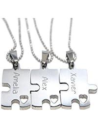 パズルピースネックレス – Engravedパズル – Bridesmaidギフト – セットの3つのカスタムパズル