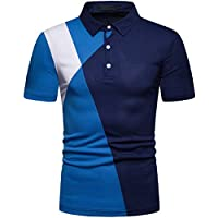 Elegeet Men's Fashion Younth Contrast Color T-Shirt 3 Button Down Short Sleeve Sport Polo Shirts