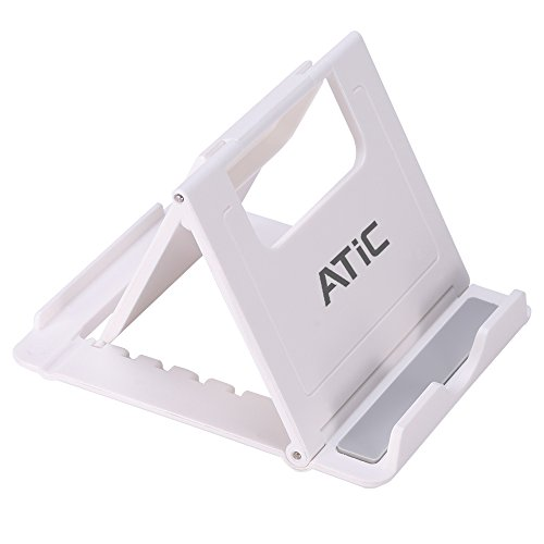 ATiC スマホ&タブレット用 折りたたみ式&角度調整可能軽量スタンド WHITE
