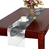 GGSXD テーブルランナー 親しい グレー猫 クロス 食卓カバー 麻綿製 欧米 おしゃれ 16 Inch X 72 Inch (40cm X 182cm) キッチン ダイニング ホーム デコレーション モダン リビング 洗える