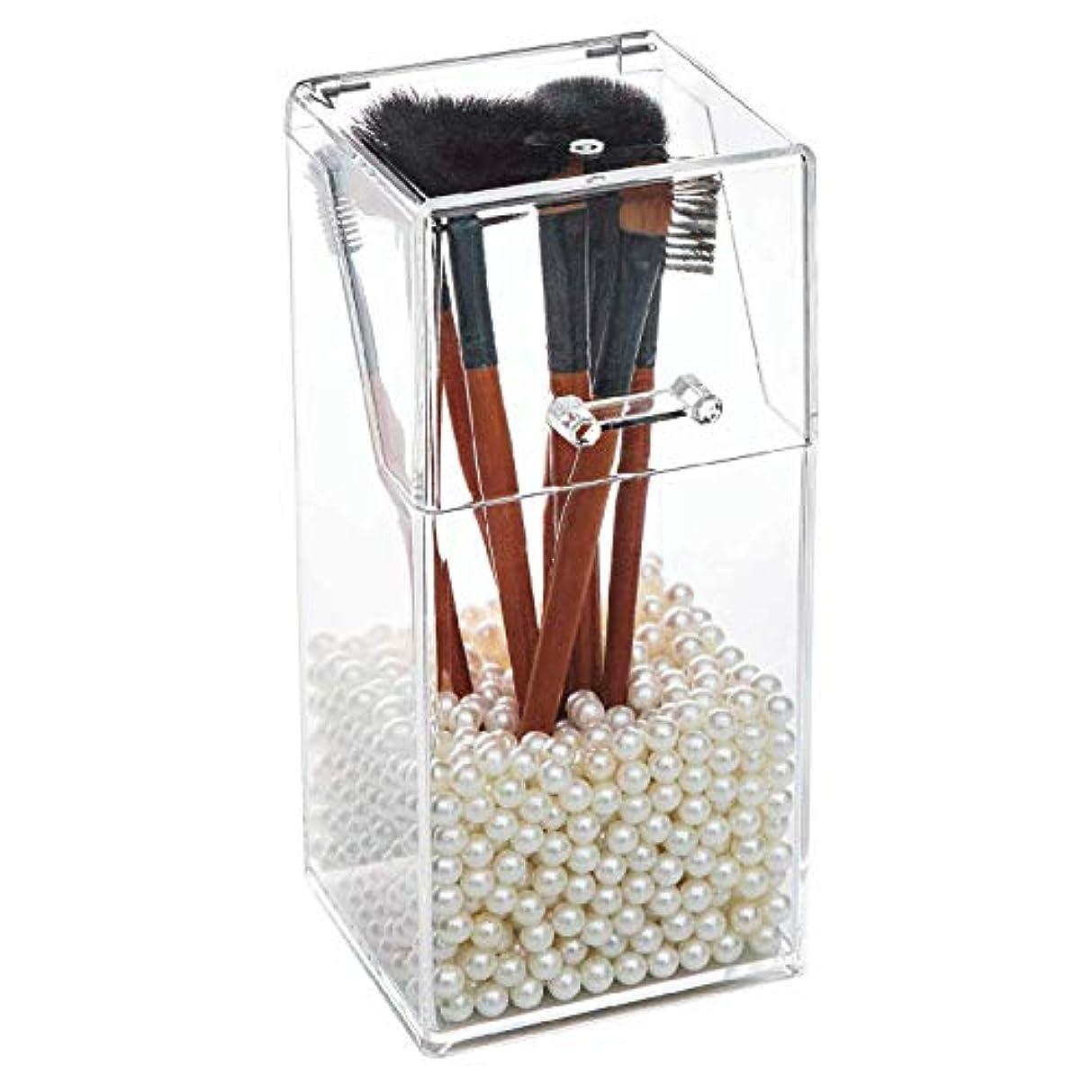 ギャラリー過言海洋ColorfylCoco(カラフィルココ) メイクブラシ収納ボックス (クッションストーン付き)メイクブラシケース スタンド 筒型 メイクボックス アクリルケース 透明 化粧品収納ボックス 卓上収納ケース ブラシホルダー