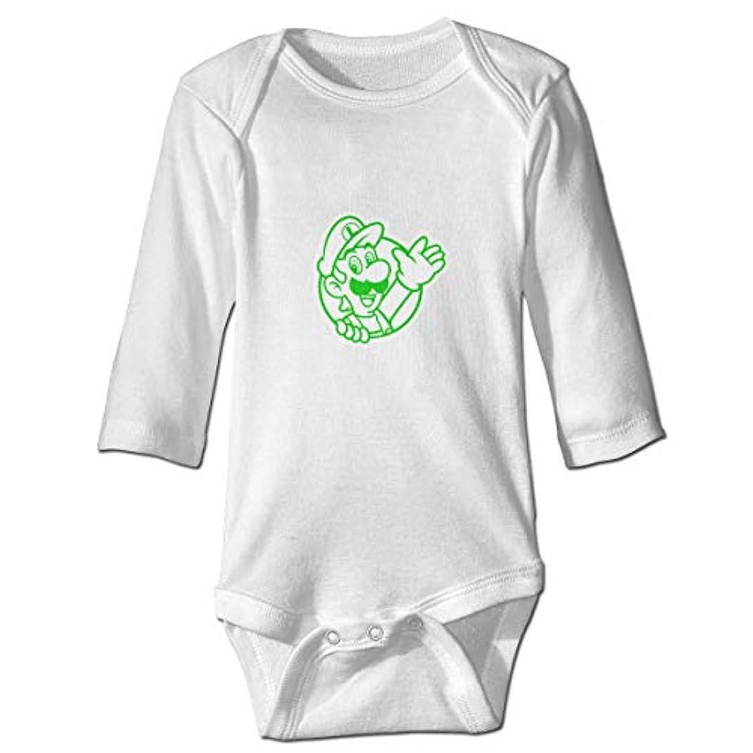 取るに足らない船乗り含めるスーパーマリオグリーンマッシュルーム 新生児男の子&女の子長袖ジャンプスーツ0-24ヶ月黒と白