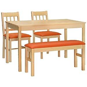 タマリビング ダイニング4点セット ハイサイ オレンジ 50001568 ダイニングセット ダイニングテーブル 4点セット ベンチタイプ パイン 無垢材 天然木 4人 おしゃれ 新生活