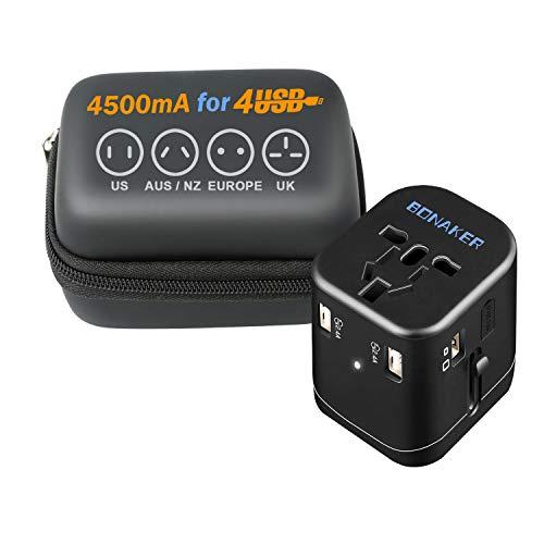 旅行充電器 4.5A海外変換プラグ 4つUSBポート付 A・...