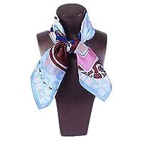 レディース洗えるシルクスクエア ワイルドスモールスクエアスカーフ100%シルクサテンプロフェッショナルスチュワーデススカーフアクセサリー 制服用オフィススカーフ (色 : 青)