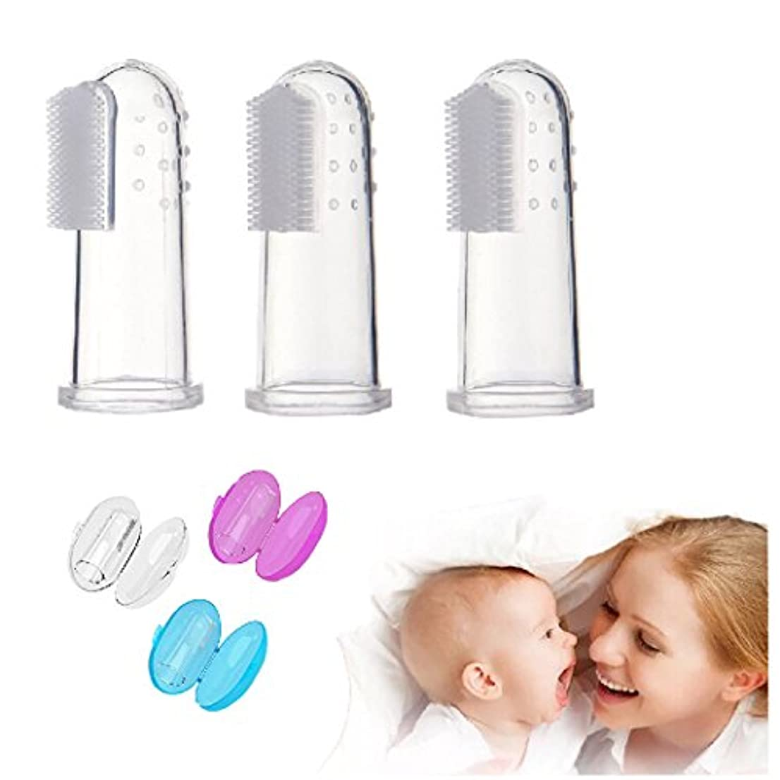 赤ちゃんの指の歯ブラシ3セット食品グレードシリコーン指歯ブラシケース付き歯ブラシティーザーとオーラルマッサージャー用赤ちゃん&幼児