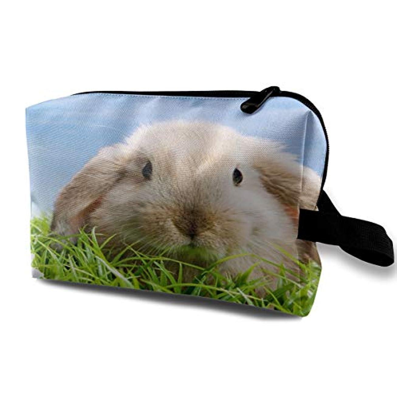 物思いにふける暗くするセンサーCute Easter Bunny In The Green Grass 収納ポーチ 化粧ポーチ 大容量 軽量 耐久性 ハンドル付持ち運び便利。入れ 自宅?出張?旅行?アウトドア撮影などに対応。メンズ レディース トラベルグッズ