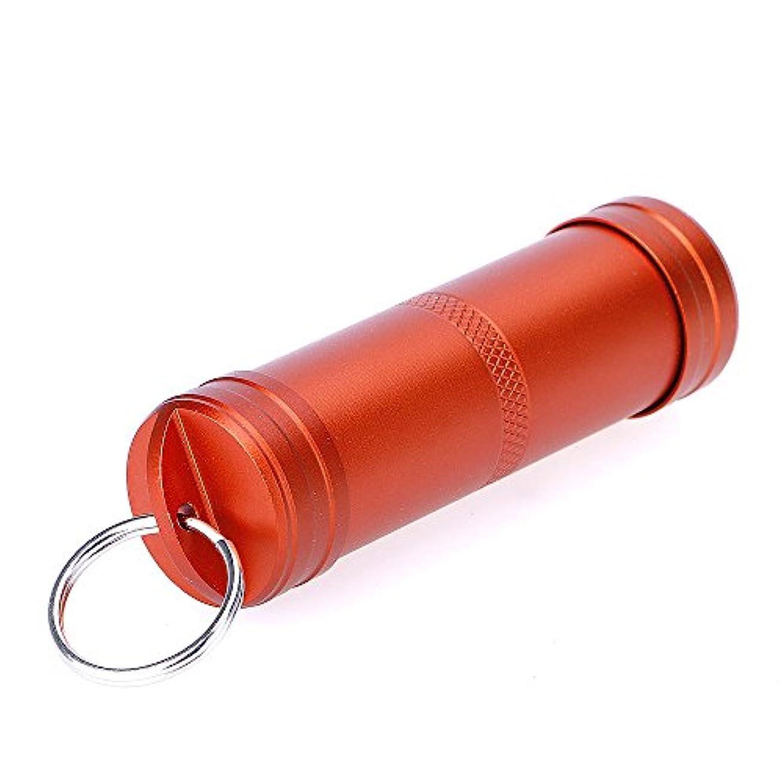 絞る前提保全EDC 防水サバイバル キット アルミ製ピル ボックス カプセル シール コンテナー キーチェーン 安全対策サバイバル用品 オレンジ