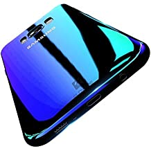 Samsung S8 Case, FLOVEME Ultra Thin Electroplating Gradual Colorful Gradient Change Color Slim Fit Hard Back Cover Clear Hard Bumper for Samsung Galaxy S8 - Transparent Blue