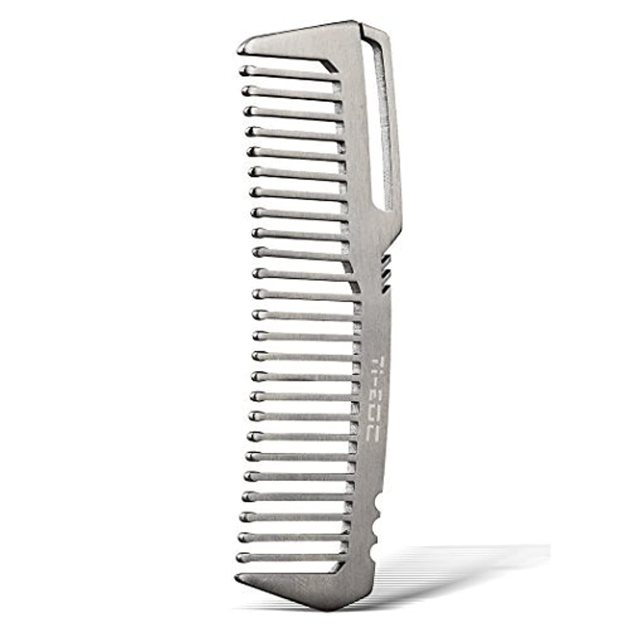 ディーラースリップシューズ道TI-EDC Titanium Hair Beared Comb Handmade Premium Eco-friendly Durable Pocket Wallet Comb [並行輸入品]