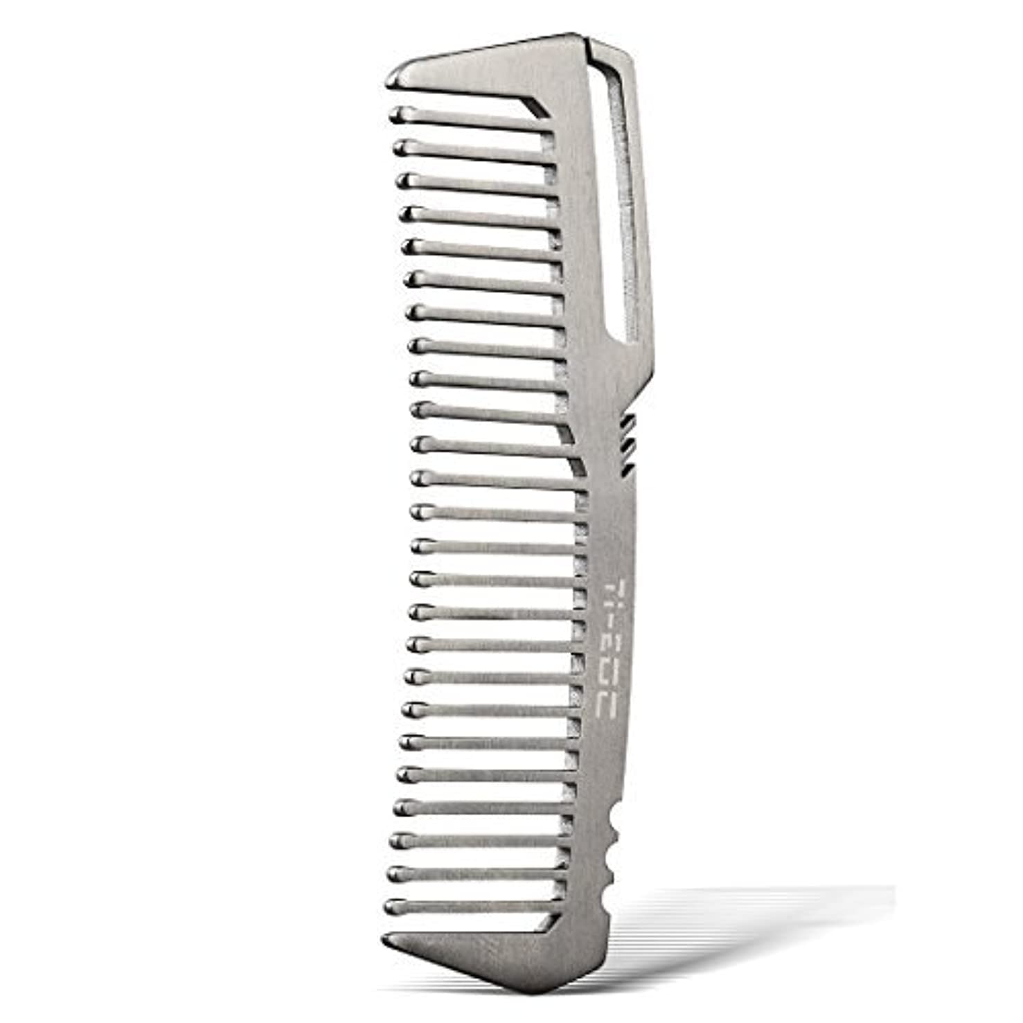 プログラム洞察力マルクス主義TI-EDC Titanium Hair Beared Comb Handmade Premium Eco-friendly Durable Pocket Wallet Comb [並行輸入品]