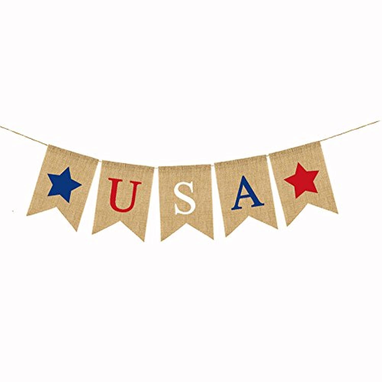 USA黄麻布バナーホオジロの7月4日アメリカ独立記念日フラグパーティーデコレーション