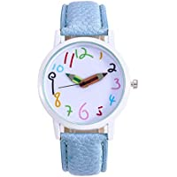 Women's Quartz Digital Wrist Watch with Comfortable Flexible Leather Band, Casual Simple Dress Watches for Women (Blue)