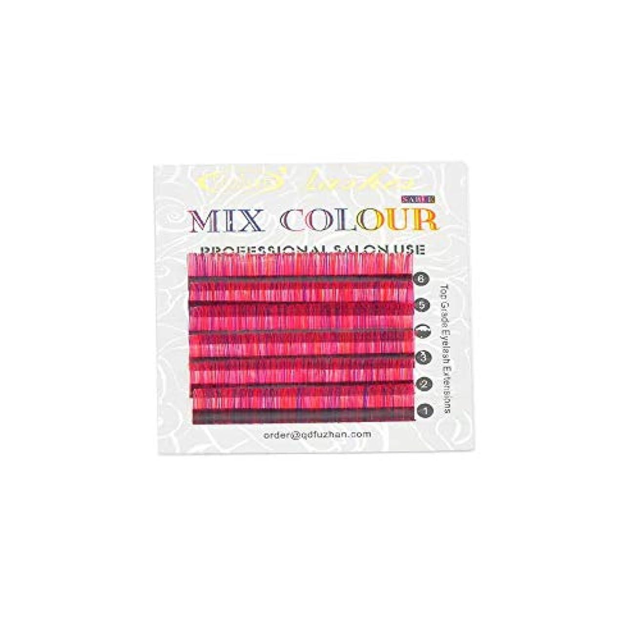 順番症候群表面カラーエクステ 色mix 太さ0.07mm 長さカール指定 6列シートタイプ ケース入り(0.07mm D 12mm ピンク?レッド?バイオレットmix)