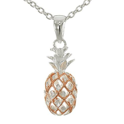 レイラニ ハワイアンジュエリー パイナップル ネックレス シルバー 925(2トーンピンクゴールドコーティング)チェーン付