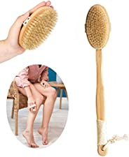 SURDOCA Dry Brushing Body Brush - Natural Wooden Long Handle Shower Back Scrubber with 2 Bath Brush Heads, Exf
