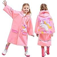 Kids Rain Jackets Hooded Waterproof Coat Girls Poncho Rainwear, Pink Unicorn