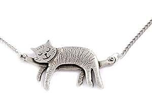 [St Justin] 眠り 猫 ネックレス 英国製 ペンダント レディース アクセサリー ねこ 雑貨 グッズ PN653