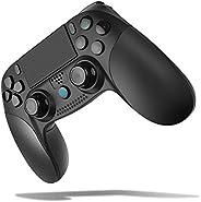 [2020最新版] PS4 コントローラー 無線 Bluetooth HD振動 ゲームパット搭載 高耐久ボタン イヤホンジャック スピーカー DUALSHOCK 4代用 PS3 コントローラー(ブラック)