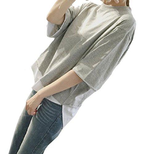 半袖BIG Tシャツ 重ね着風 フェイク シャツ プルオーバー 無地 カットソー カジュアル ( ...