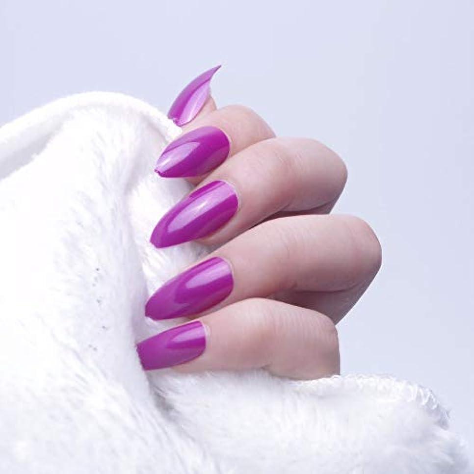 夕暮れのみ経験者XUTXZKA 24ピースオーバルスティレット偽の爪のヒントフルカバー偽爪ステッカープレスネイル