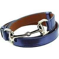 "Womens Thin Skinny Metal Tone Leather Belt Horsebit Buckle - Adjustable Size 27"" to 45"""