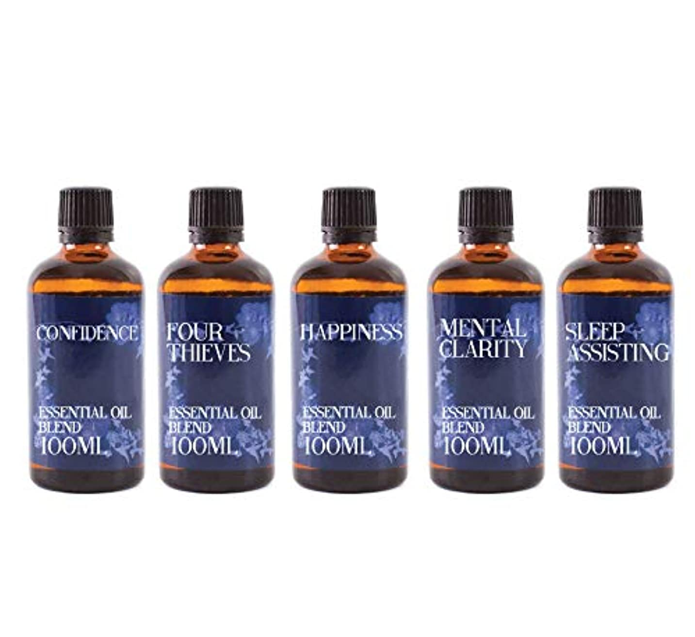 委員会三吹きさらしMystix London | Gift Starter Pack of 5 x 100ml - Everyday Essentials - Essential Oil Blends