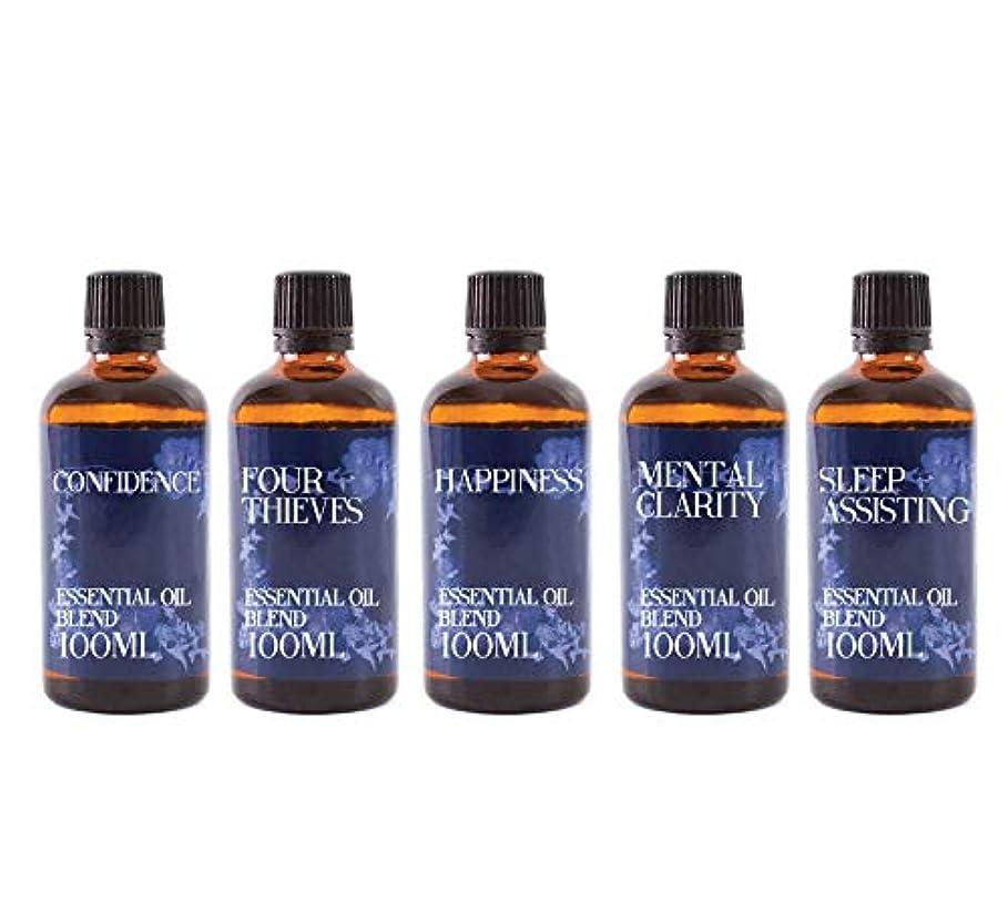 小道具ガラス有益Mystix London   Gift Starter Pack of 5 x 100ml - Everyday Essentials - Essential Oil Blends