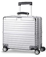 TABITORA(タビトラ) スーツケース 小型 超軽量 アルミフレーム キャリーバッグ 機內持ち込み ビジネス出張 TSAロック 靜音 8輪 シルバー (ss, シルバー)