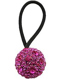 Perfeclan ダイヤモンドボールヘッドドレス弾性ヘアリングロープポニーテールホルダー - ローズレッド