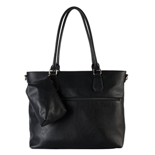 Diophy Diaper Bag PU Leather Weekender Extra Large Tote with Baby Changing Pad, Black by Diophy
