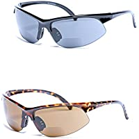 Mass Vision 2 Pair of Unisex Bifocal Sport Wrap Sunglasses - Outdoor Reading Sunglasses (Black/Tortoise 1.25)