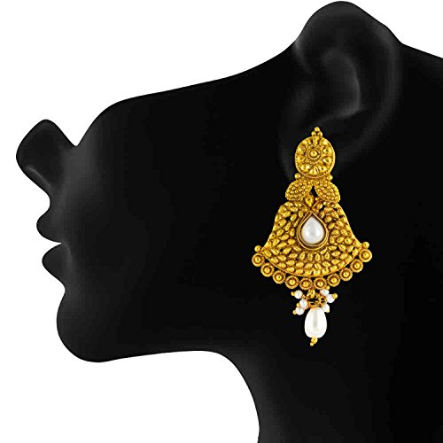 Donna Women's Traditional Ethnic White Floral Pearl Gold Plated Dangler Earrings By