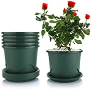 T4U Flower Pots with Saucers - 0.5 Gallon 16.5cm /6.5in Plastic Dark Green Plant Pots Set of 6, Root-Control N