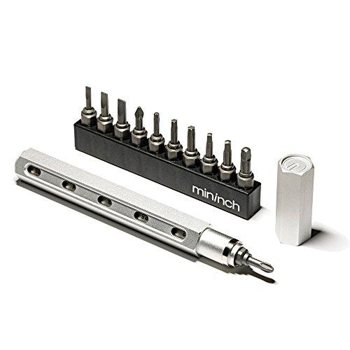 mininch 上質な大人のためのマルチ工具 ツールペン ツールペンミニ レンチ フルセット 本体にビットを格納 (ツールペン, スノーシルバー)