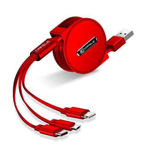 巻き取りケーブル 120cm リール式 ライトニング&TYPEC&MicroUSB 3in1 USB充電 データ転送 (レッド)